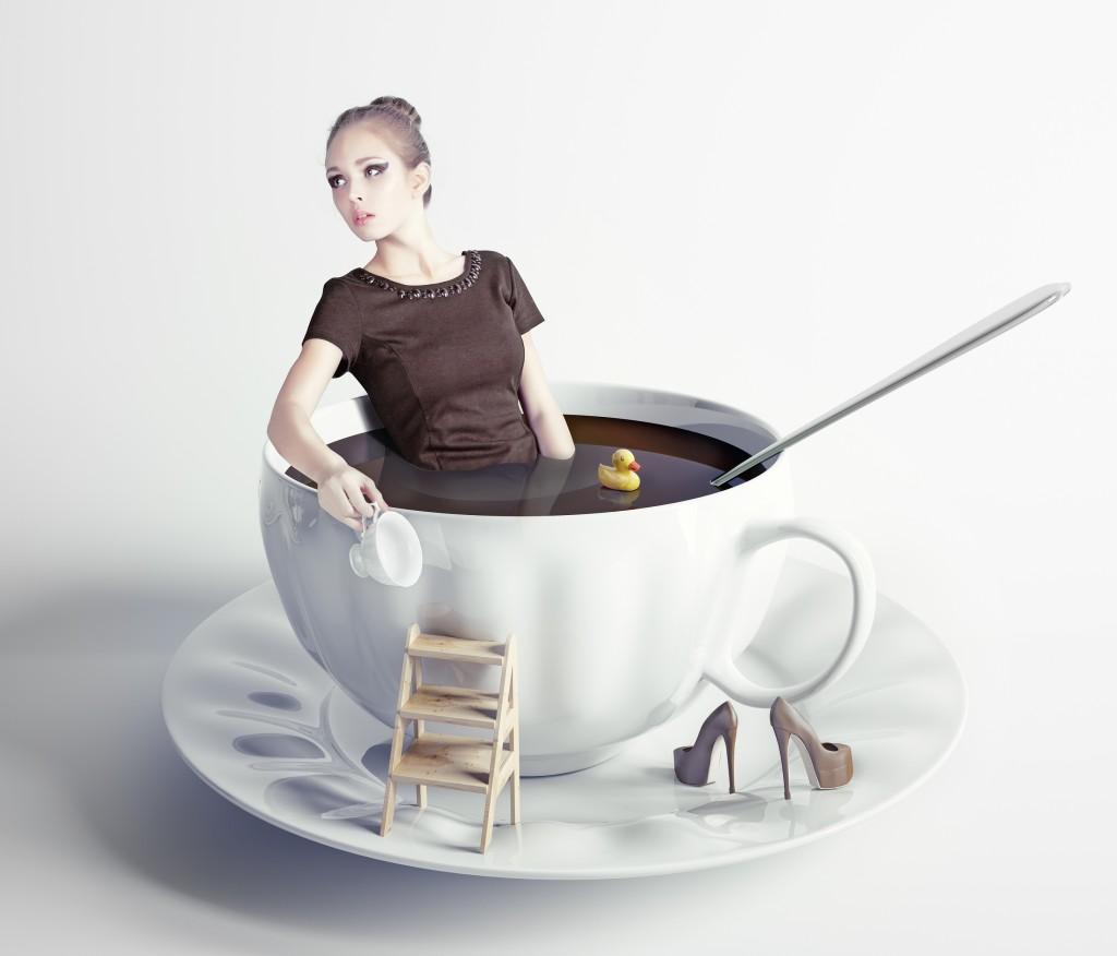 In Kaffee baden