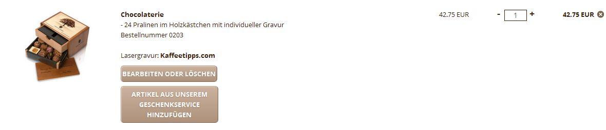 Graviertes Holzkästchen - Screenshot aus Chocolissimo.de