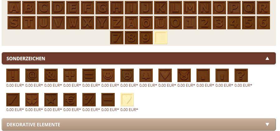 Möglichkeiten des Choco-Telegramms - Screenshot aus dem Online-Shop