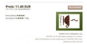 Mini-Schoko-Postkarte am Beispiel Kaffeetipps.com